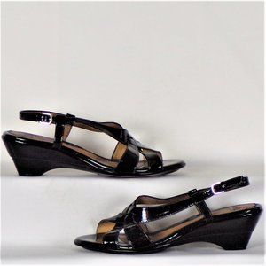 Sandals black patent-leather look size unknown